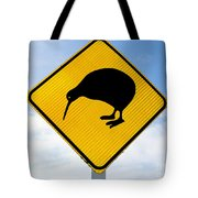Attention Kiwi Crossing Road Sign Tote Bag