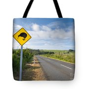 Attention Kiwi Crossing Roadsign At Nz Rural Road Tote Bag