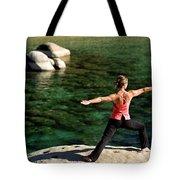 Attractive Woman Doing Yoga Tote Bag