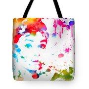 Audrey Hepburn Paint Splatter Tote Bag