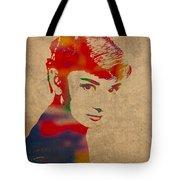 Audrey Hepburn Watercolor Portrait On Worn Distressed Canvas Tote Bag