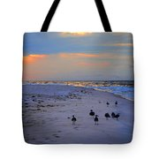 August Beach Morning With The Sea Gulls Tote Bag