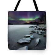 Aurora Borealis Over Sandvannet Lake Tote Bag