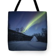 Aurora On A Blue Night Sky Tote Bag