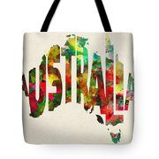 Australia Typographic Watercolor Map Tote Bag