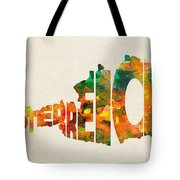Austria Typographic Watercolor Map Tote Bag by Inspirowl Design