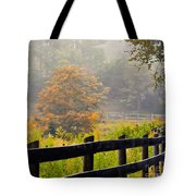 Autumn Along The Fence Tote Bag