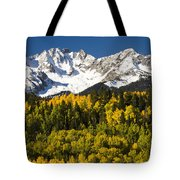 Autumn And Snow Covered Peaks North Tote Bag