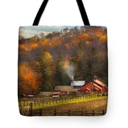 Autumn - Barn - The End Of A Season Tote Bag by Mike Savad