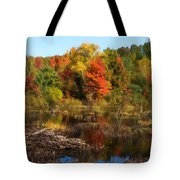 Autumn Beaver Pond Reflections Tote Bag