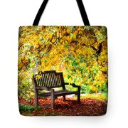 Autumn Bench In The Garden  Tote Bag
