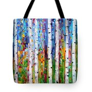 Autumn Birch Trees Abstract Tote Bag