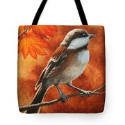 Autumn Chickadee Tote Bag by Crista Forest