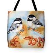 Autumn Chickadees Tote Bag