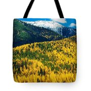 Autumn Color Larch Trees In Pine Tree Tote Bag