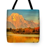 Autumn Dawn At Oxbow Bend Tote Bag