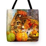 Autumn Display - Pumpkins On A Porch Tote Bag