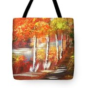 Autumn Falling Leaves  Tote Bag