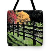 Autumn Fence And Shadows Tote Bag
