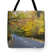 Autumn Forest Road Tote Bag