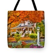 Autumn - House - The Beauty Of Autumn Tote Bag