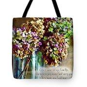 Autumn Hydrangeas Photoart With Verse Tote Bag