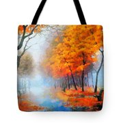 Autumn In The Morning Mist Tote Bag
