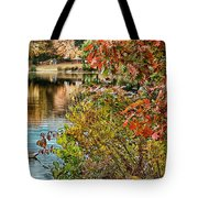 Autumn Lake And Swan Tote Bag