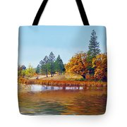Autumn Lake In The Woods Tote Bag