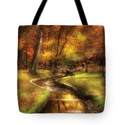 Autumn - Landscape - By A Little Bridge  Tote Bag by Mike Savad