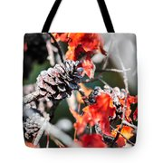 Autumn Leaves And Pinecone Background Tote Bag