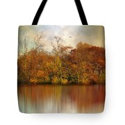 Autumn On A Pond Tote Bag