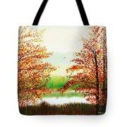 Autumn On The Ema River Estonia Tote Bag