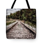 Autumn On The Railroad Tracks Tote Bag
