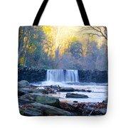 Autumn On The Wissahickon Waterfall Tote Bag