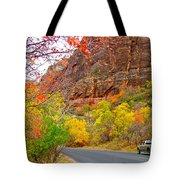 Autumn On Zion Canyon Scenic Drive In Zion National Park-utah  Tote Bag