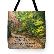 Autumn Path With Scripture Tote Bag