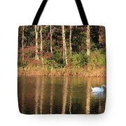 Autumn Pond Sunset With Swan Tote Bag