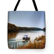 Autumn Pontoon Boating Argyle Lake Tote Bag