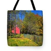 Autumn Red Barn Tote Bag by Joann Vitali