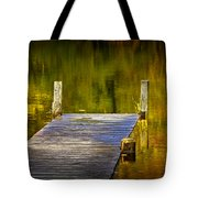 Autumn Reflections And Boat Dock On A Pond Near Yankee Springs Michigan Tote Bag