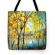 Autumn River Walk Tote Bag