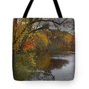 Autumn Scene Of The Flat River Tote Bag