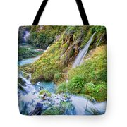 Autumn Valley Waterfalls Tote Bag