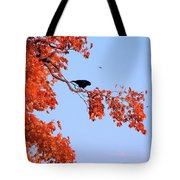 Autumn View Through Red Leaves Tote Bag