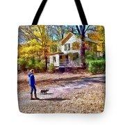 Autumn - Walking The Dog Tote Bag
