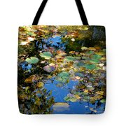 Autumn Water Lily Reflections  Tote Bag