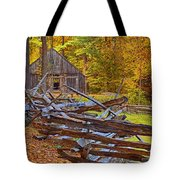 Autumn Wooden Fence Tote Bag