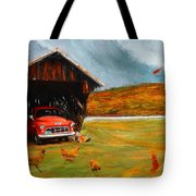 Autumnal Restful View-farm Scene Paintings Tote Bag