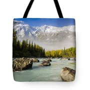 Autumns Colors Contrast With Winters Tote Bag by Ray Bulson